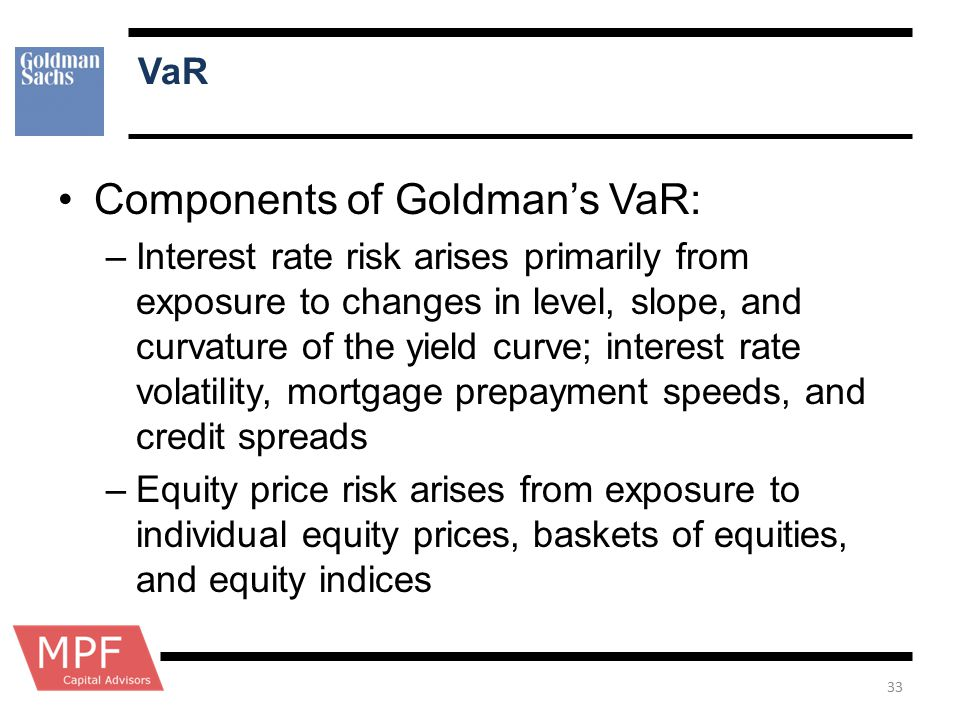 Components of Goldman's VaR: