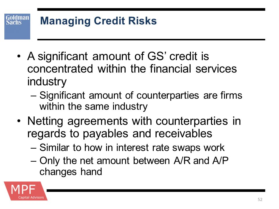 Managing Credit Risks A significant amount of GS' credit is concentrated within the financial services industry.