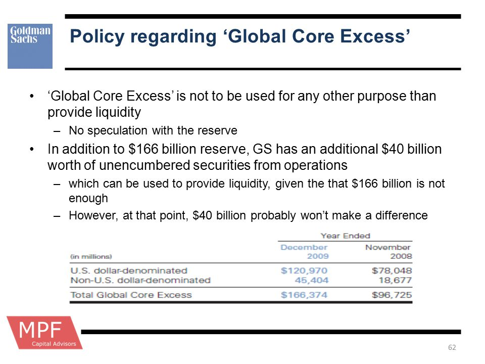 Policy regarding 'Global Core Excess'