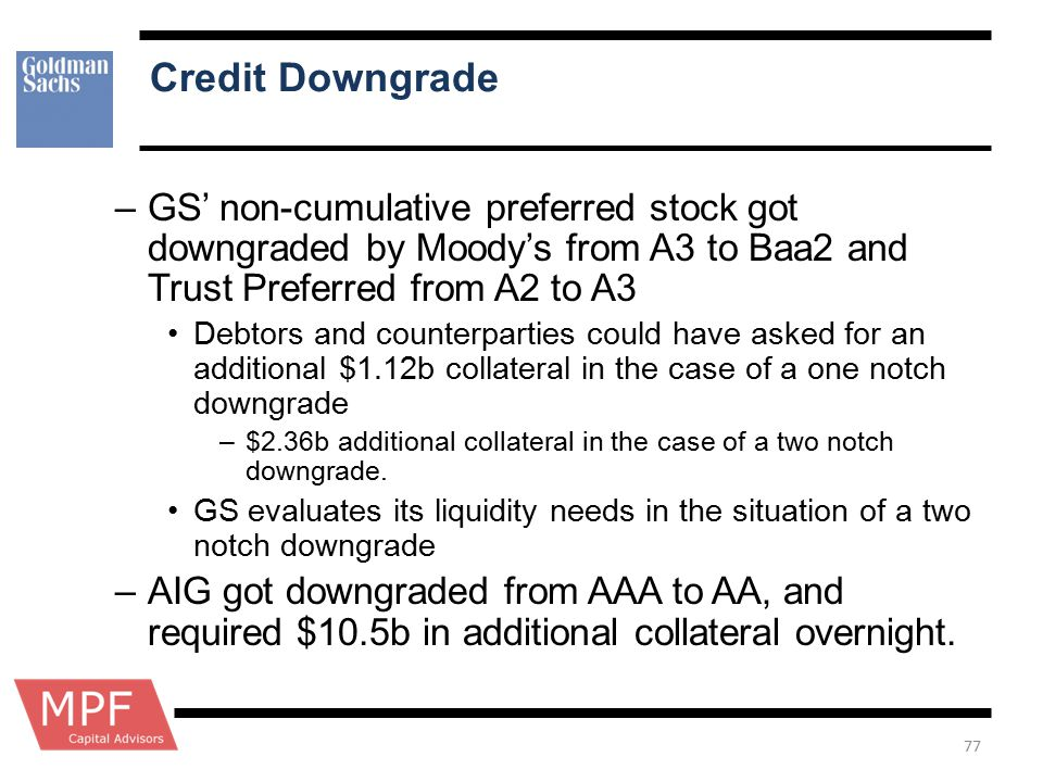 Credit Downgrade GS' non-cumulative preferred stock got downgraded by Moody's from A3 to Baa2 and Trust Preferred from A2 to A3.