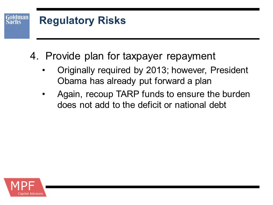 Provide plan for taxpayer repayment