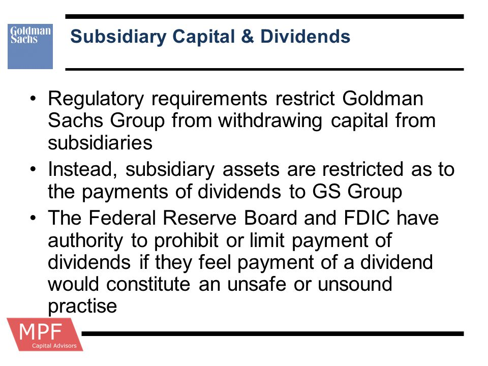 Subsidiary Capital & Dividends