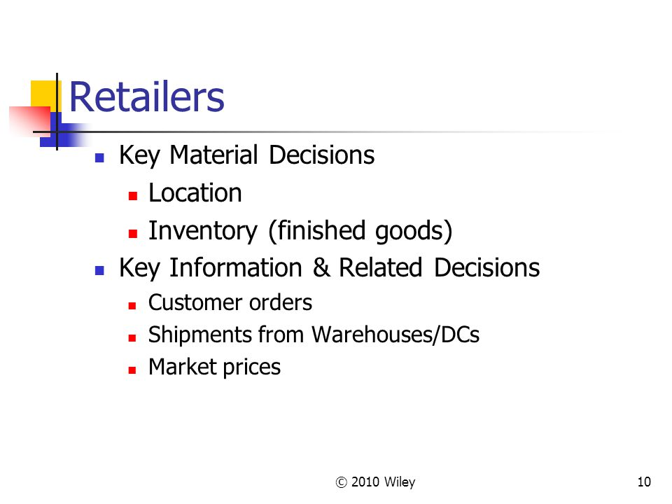 Retailers Key Material Decisions Location Inventory (finished goods)
