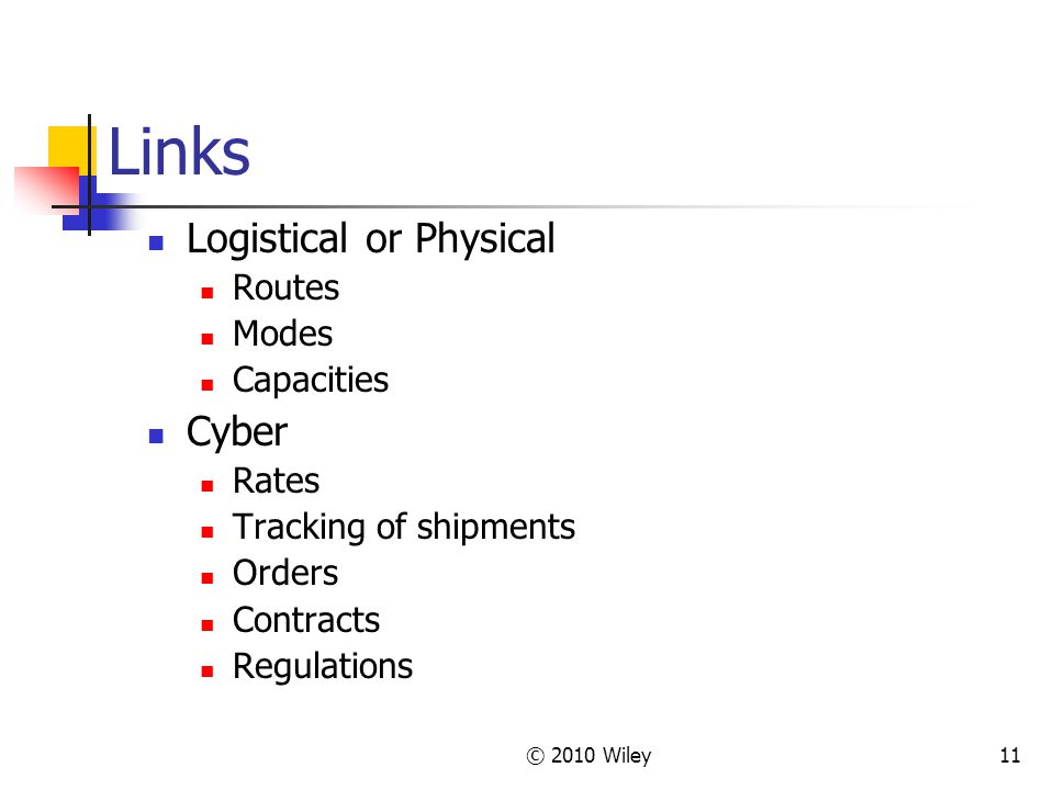 Links Logistical or Physical Cyber Routes Modes Capacities Rates