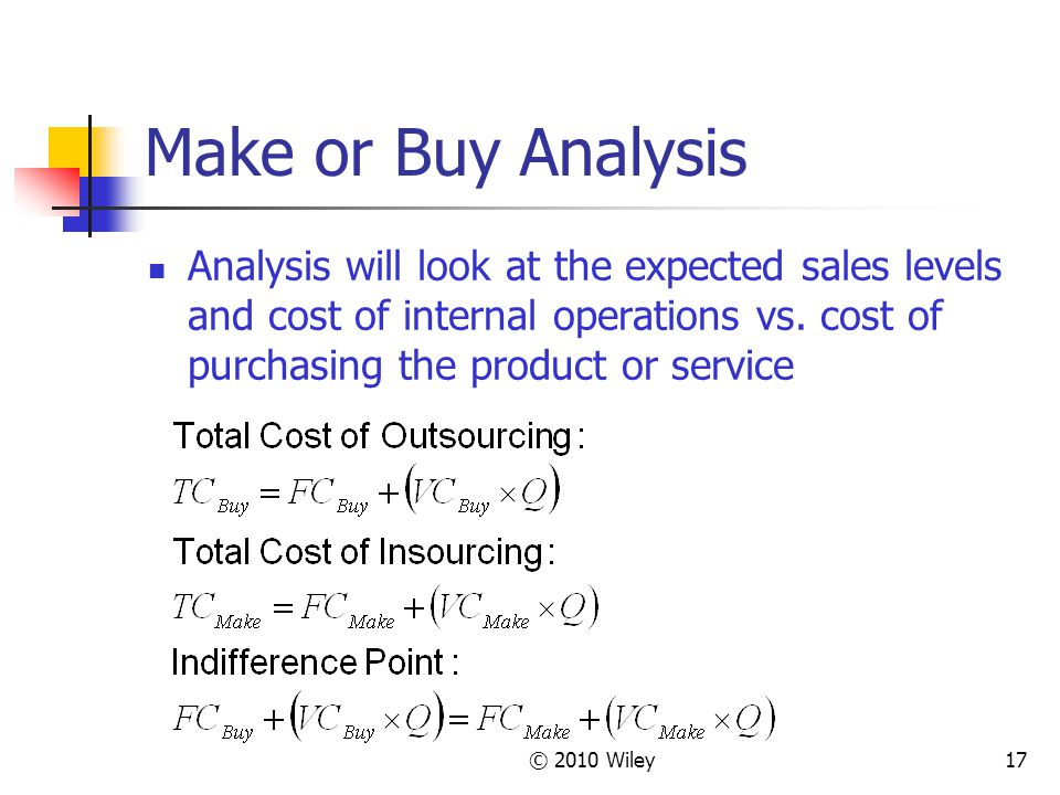 Make or Buy Analysis Analysis will look at the expected sales levels and cost of internal operations vs. cost of purchasing the product or service.