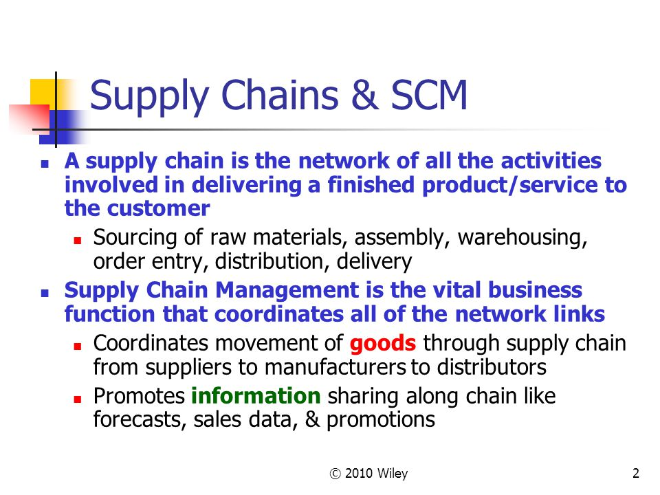 Supply Chains & SCM A supply chain is the network of all the activities involved in delivering a finished product/service to the customer.