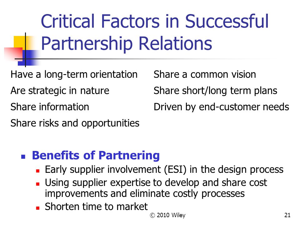 Critical Factors in Successful Partnership Relations