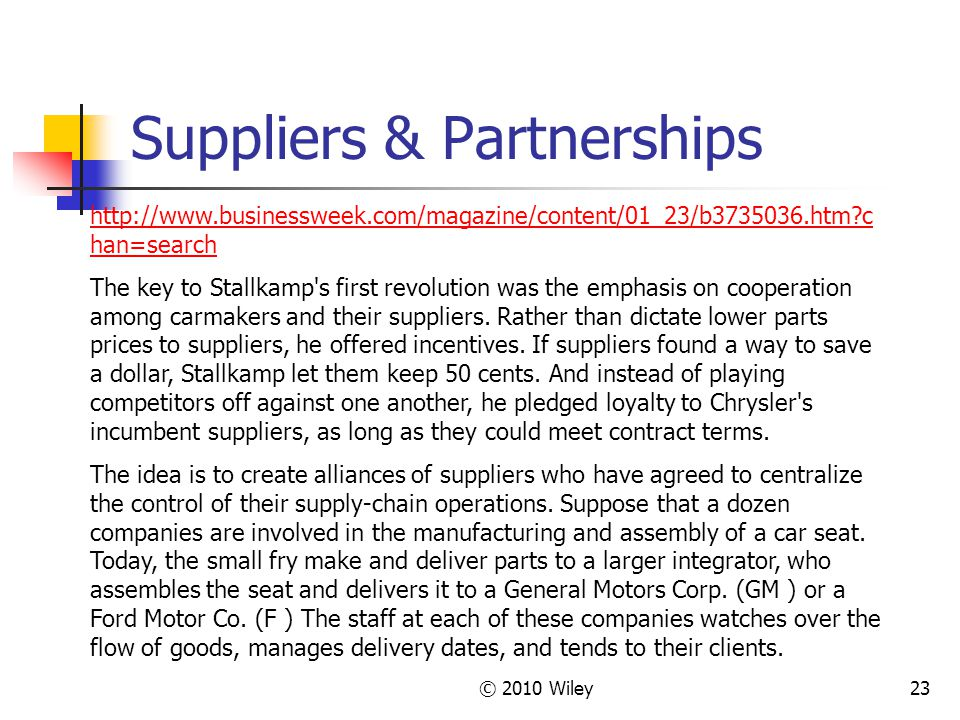 Suppliers & Partnerships