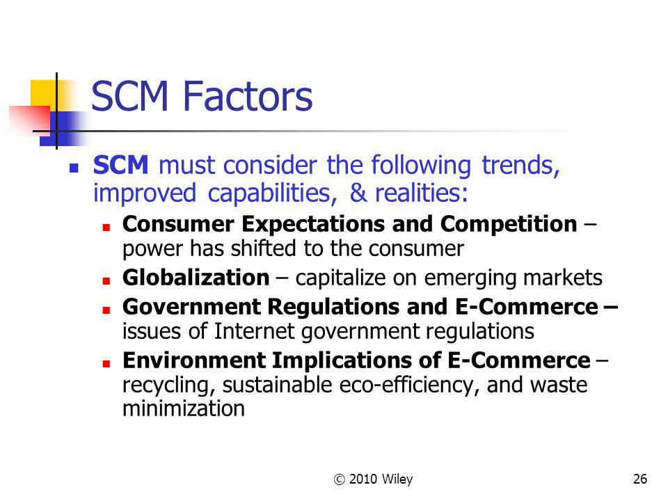 SCM Factors SCM must consider the following trends, improved capabilities, & realities: