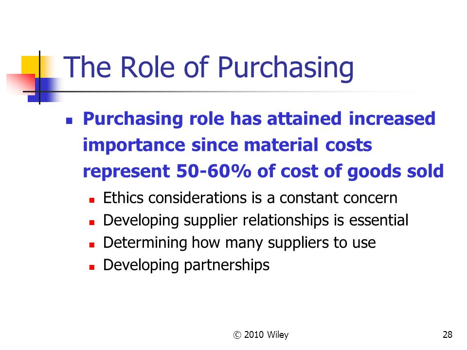 The Role of Purchasing Purchasing role has attained increased importance since material costs represent 50-60% of cost of goods sold.