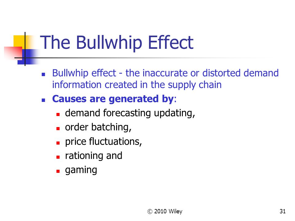 The Bullwhip Effect Bullwhip effect - the inaccurate or distorted demand information created in the supply chain.
