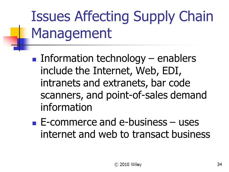 Issues Affecting Supply Chain Management