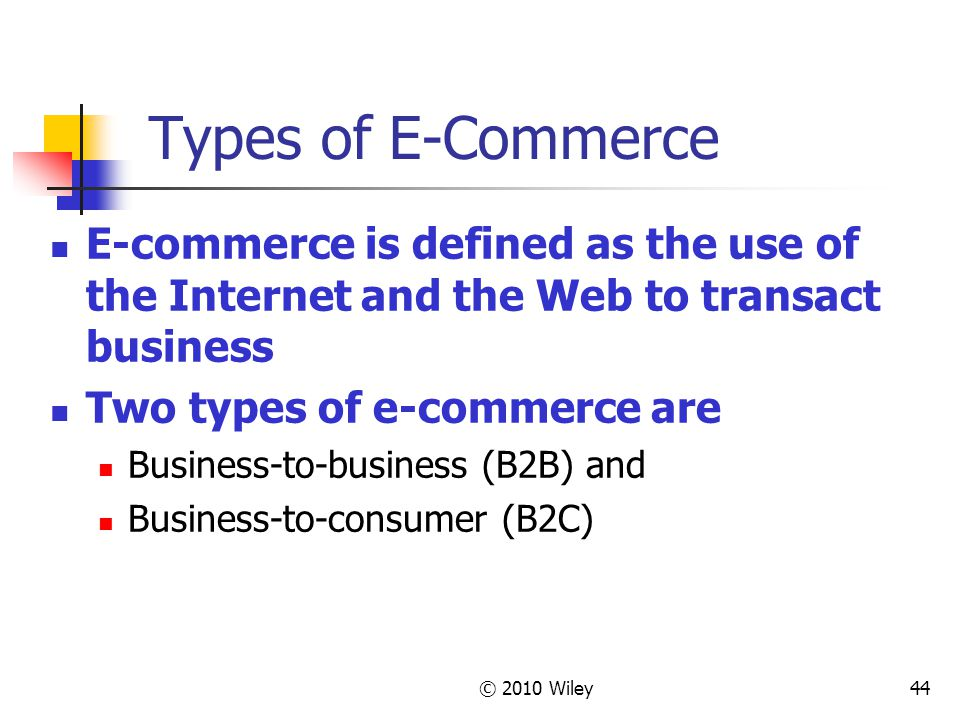 Types of E-Commerce E-commerce is defined as the use of the Internet and the Web to transact business.