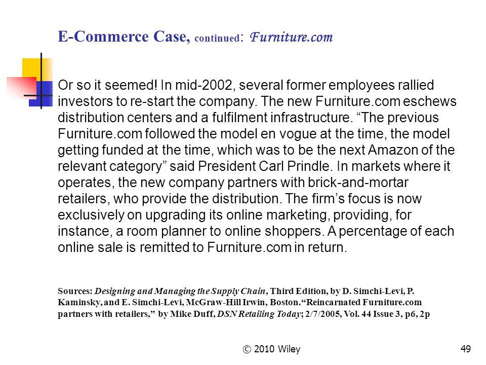 E-Commerce Case, continued: Furniture.com