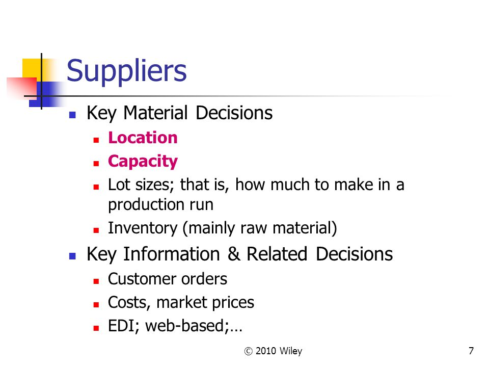 Suppliers Key Material Decisions Key Information & Related Decisions
