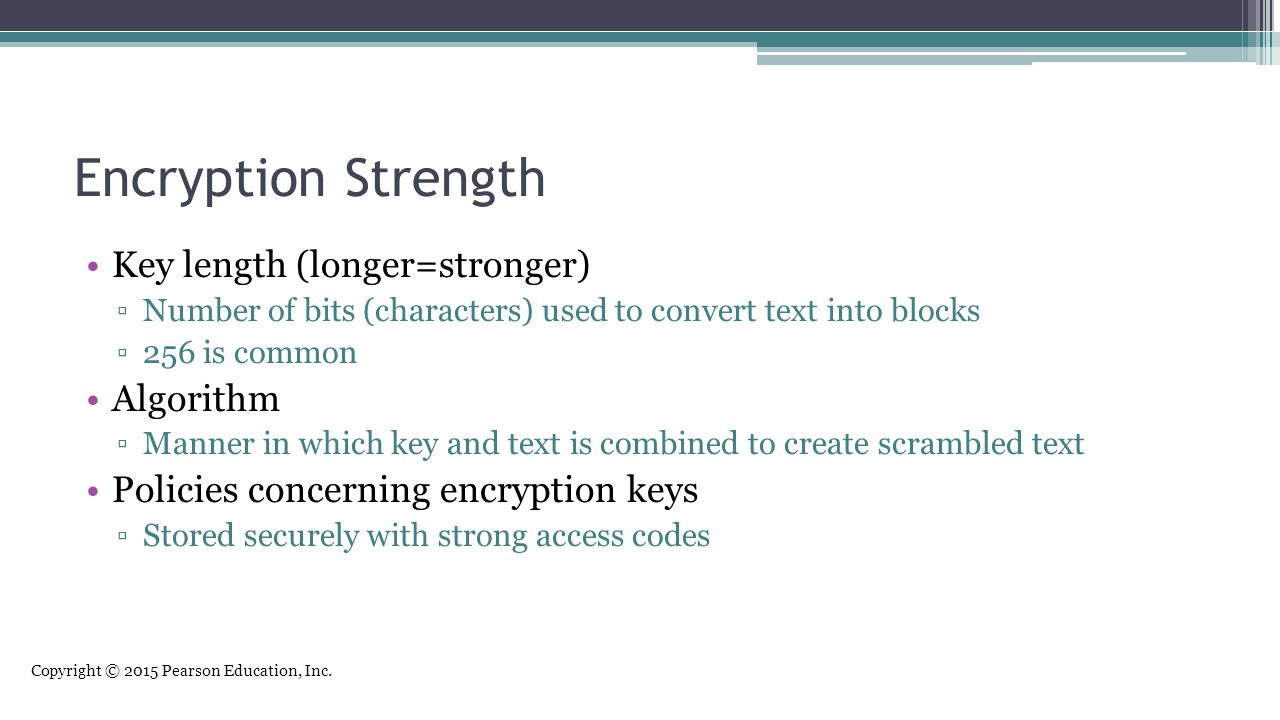 Encryption Strength Key length (longer=stronger) Algorithm