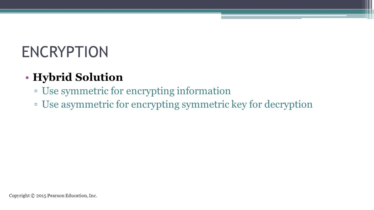 ENCRYPTION Hybrid Solution Use symmetric for encrypting information