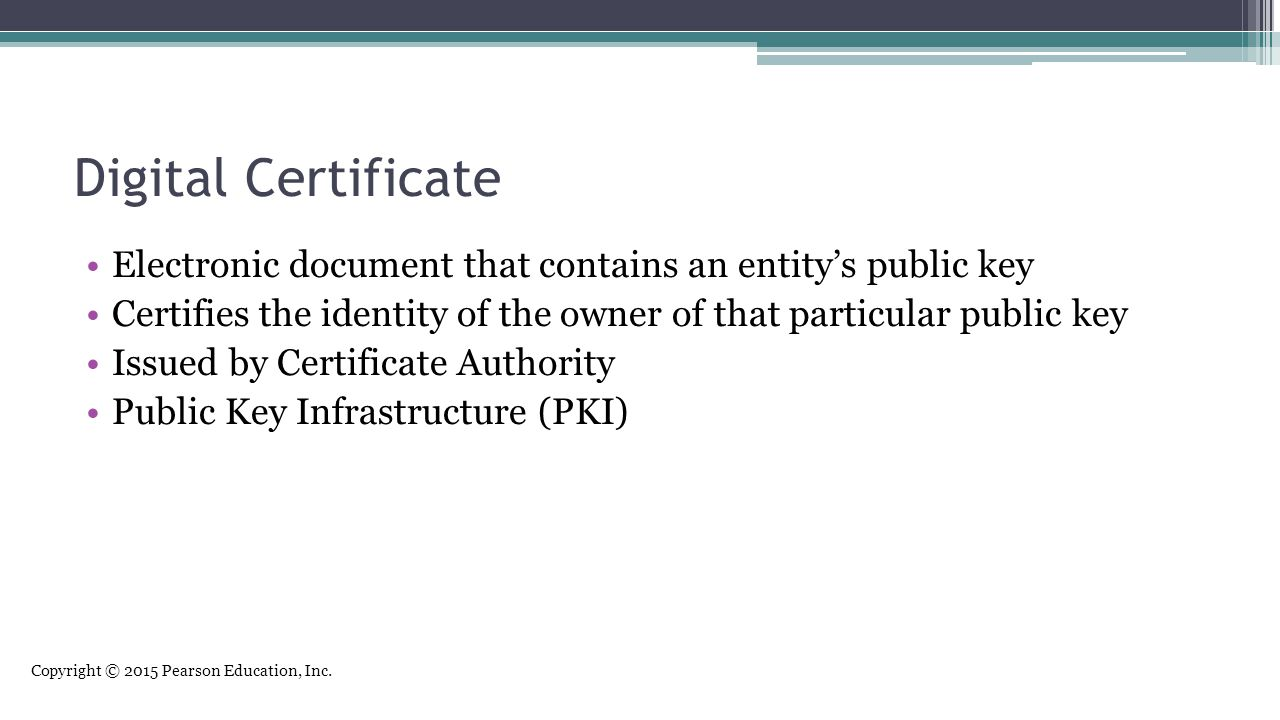 Digital Certificate Electronic document that contains an entity's public key. Certifies the identity of the owner of that particular public key.