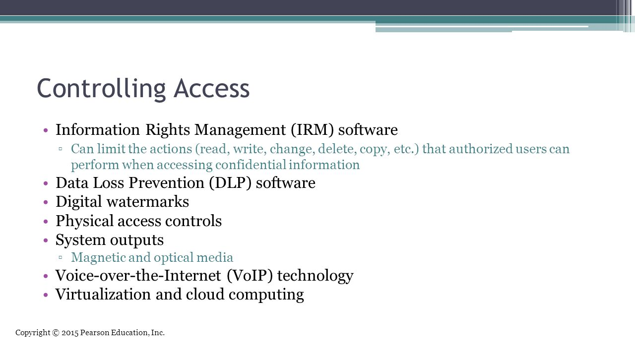 Controlling Access Information Rights Management (IRM) software