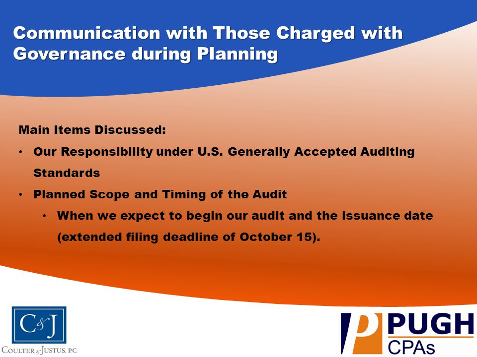 Communication with Those Charged with Governance during Planning