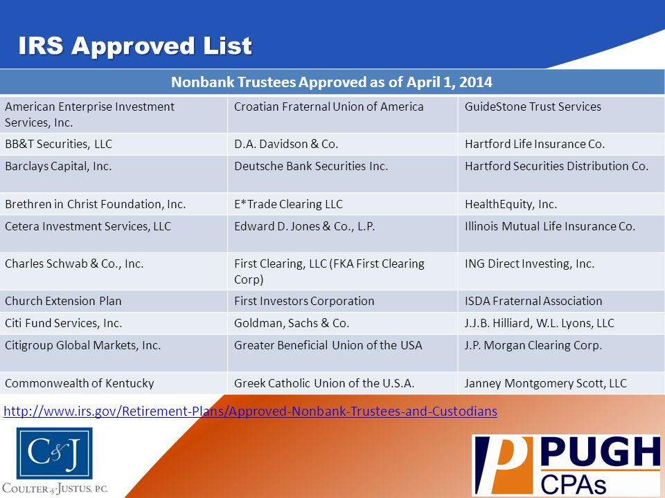 Nonbank Trustees Approved as of April 1, 2014