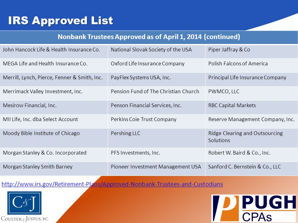 Nonbank Trustees Approved as of April 1, 2014 (continued)