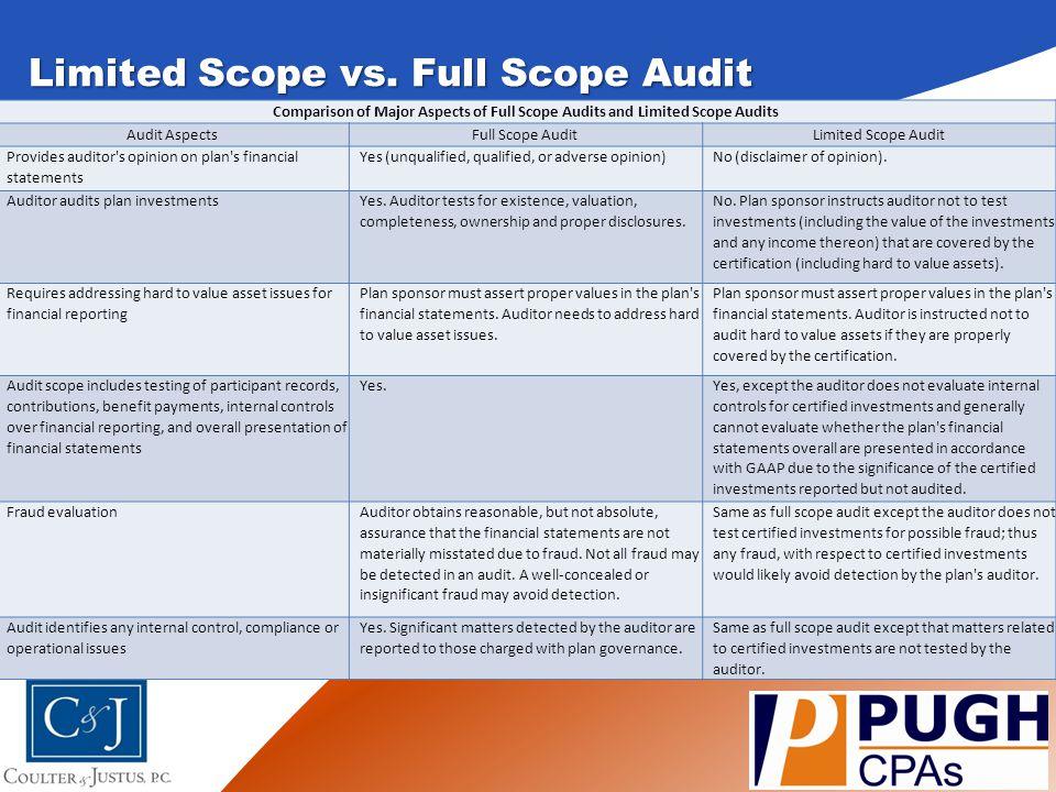 Limited Scope vs. Full Scope Audit