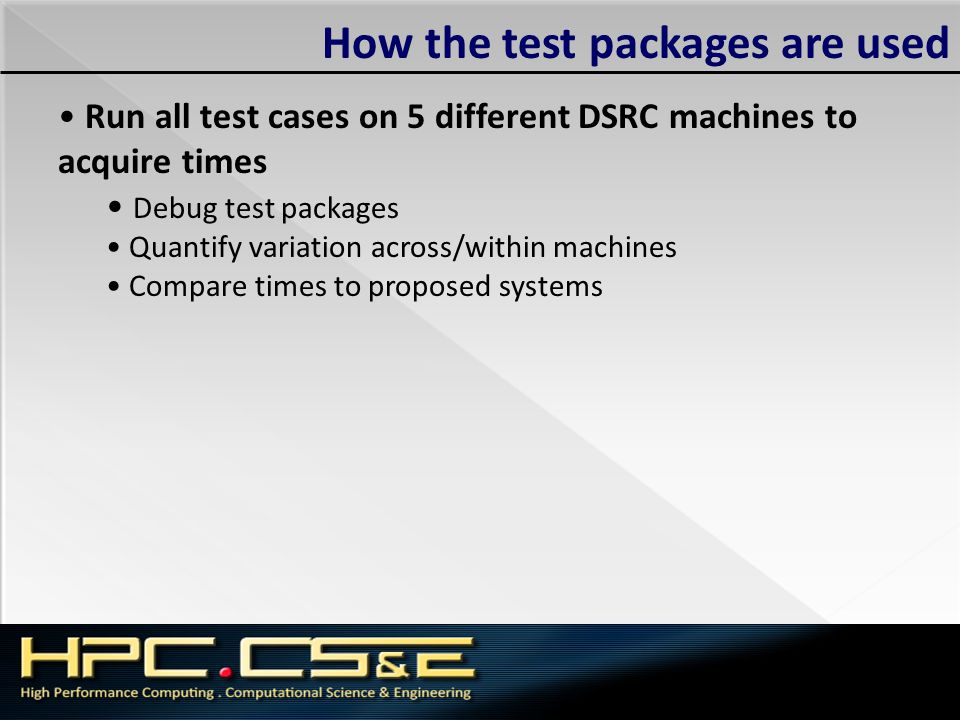 How the test packages are used