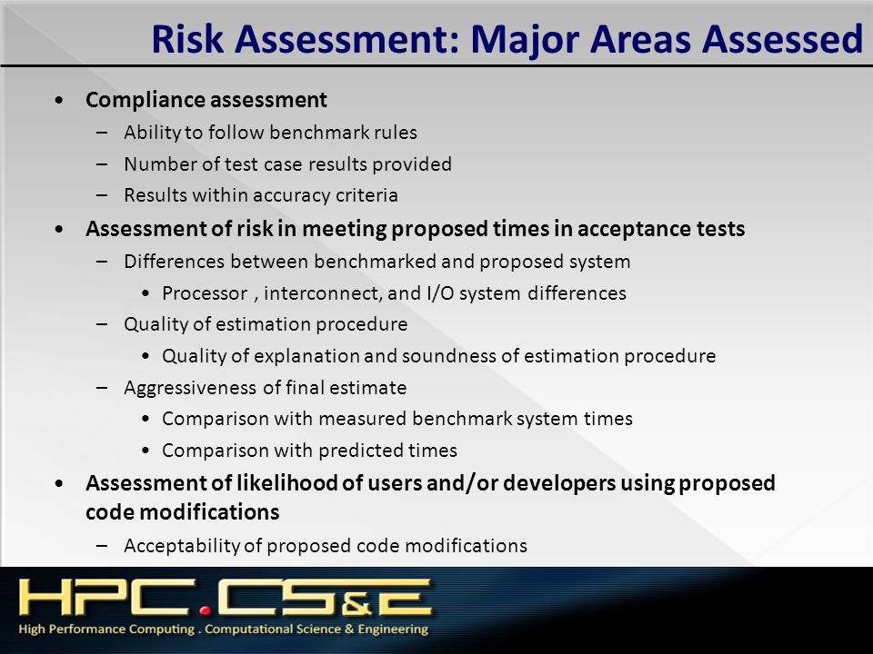 Risk Assessment: Major Areas Assessed