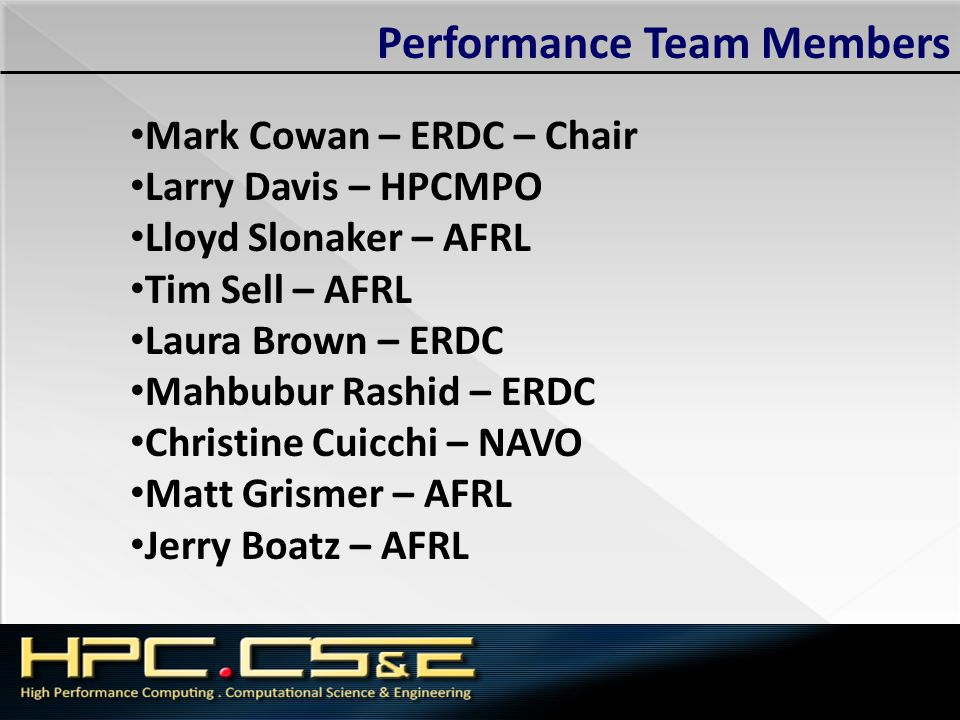 Performance Team Members