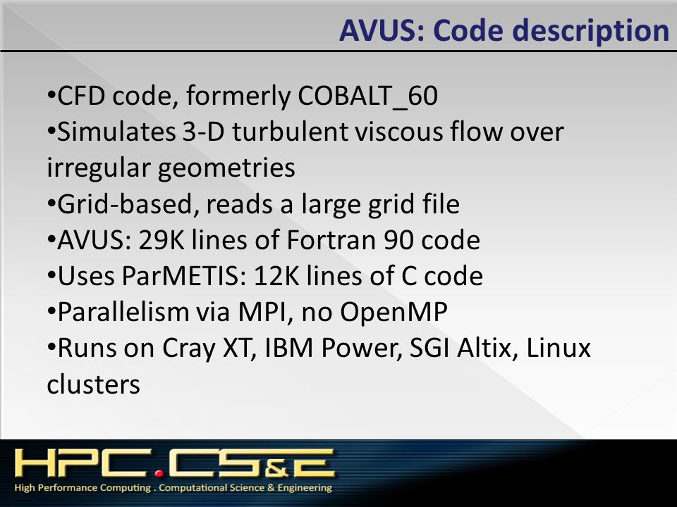 AVUS: Code description