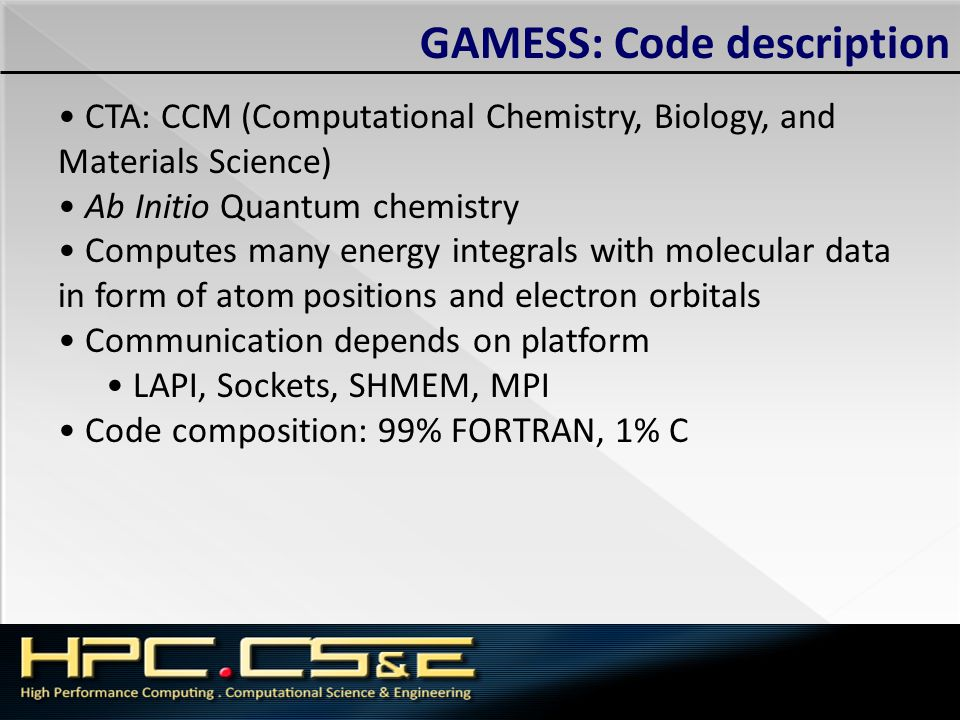 GAMESS: Code description