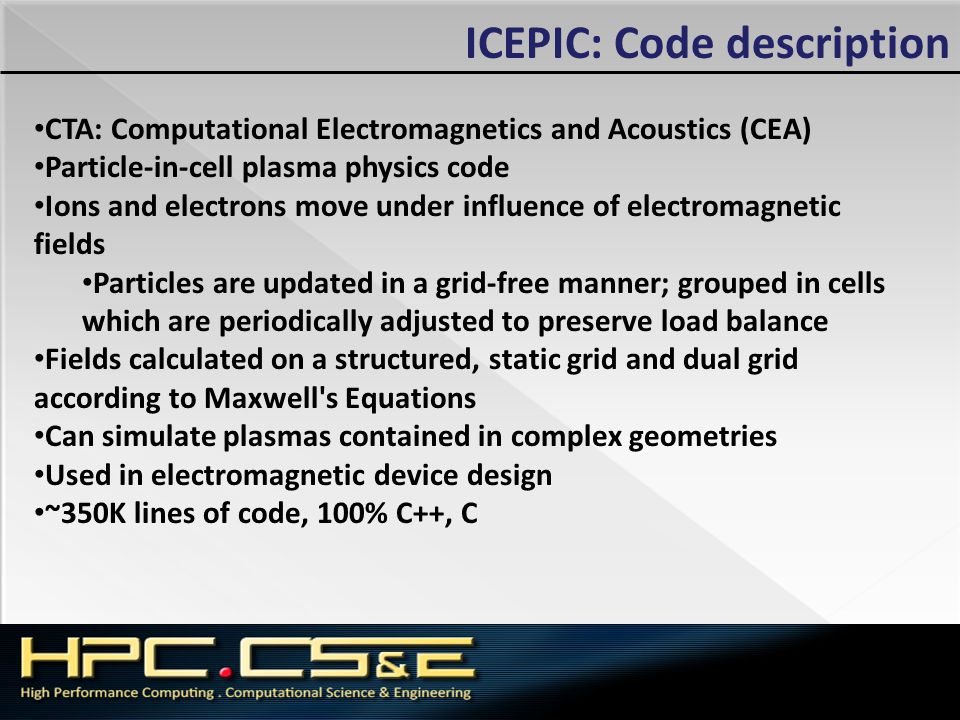 ICEPIC: Code description