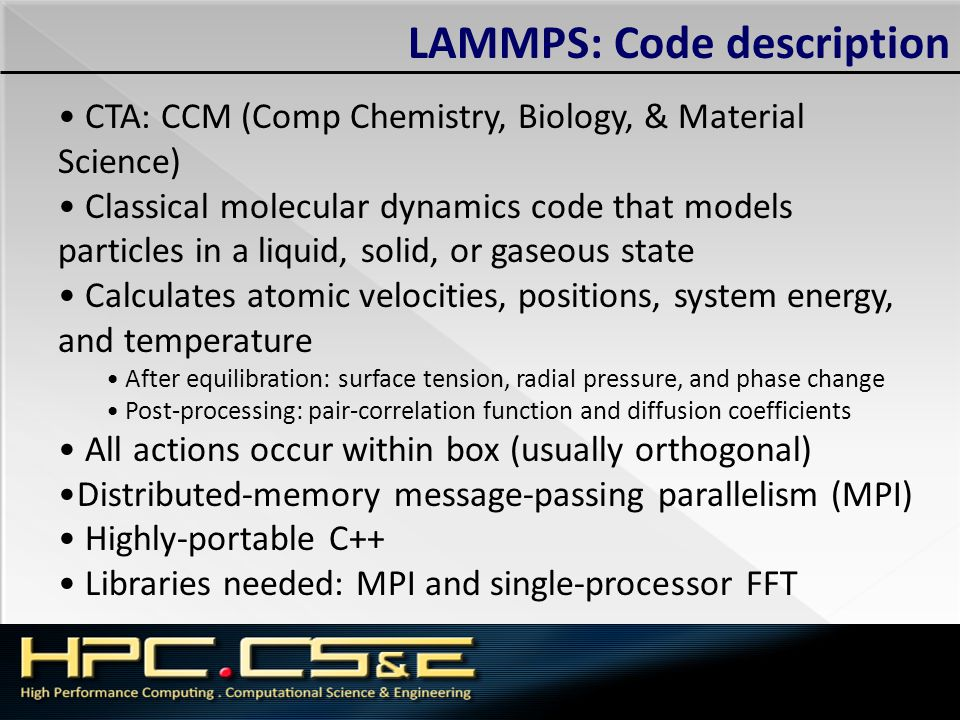 LAMMPS: Code description