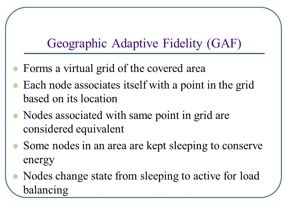 Geographic Adaptive Fidelity (GAF)