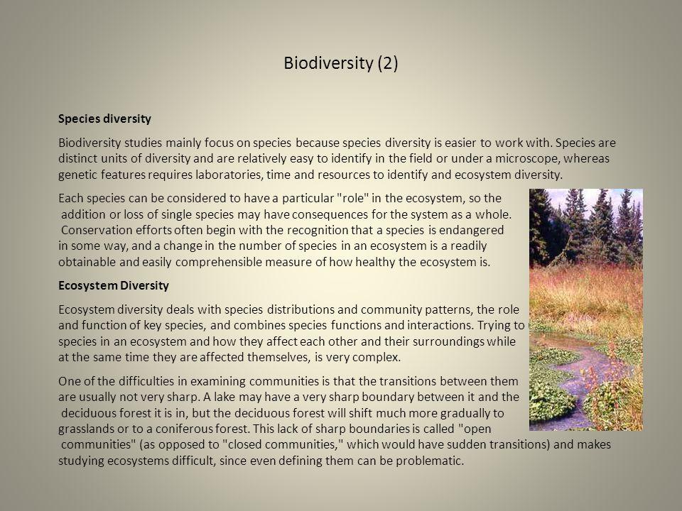 Biodiversity (2) Species diversity