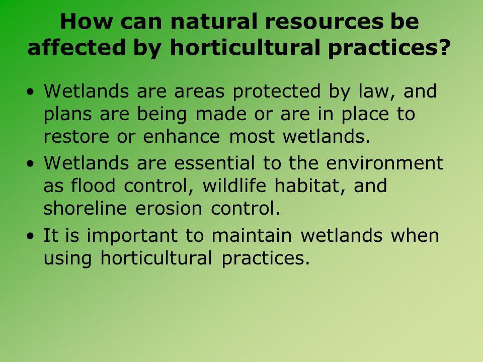 How can natural resources be affected by horticultural practices