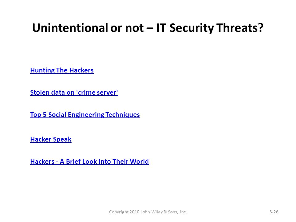 Unintentional or not – IT Security Threats