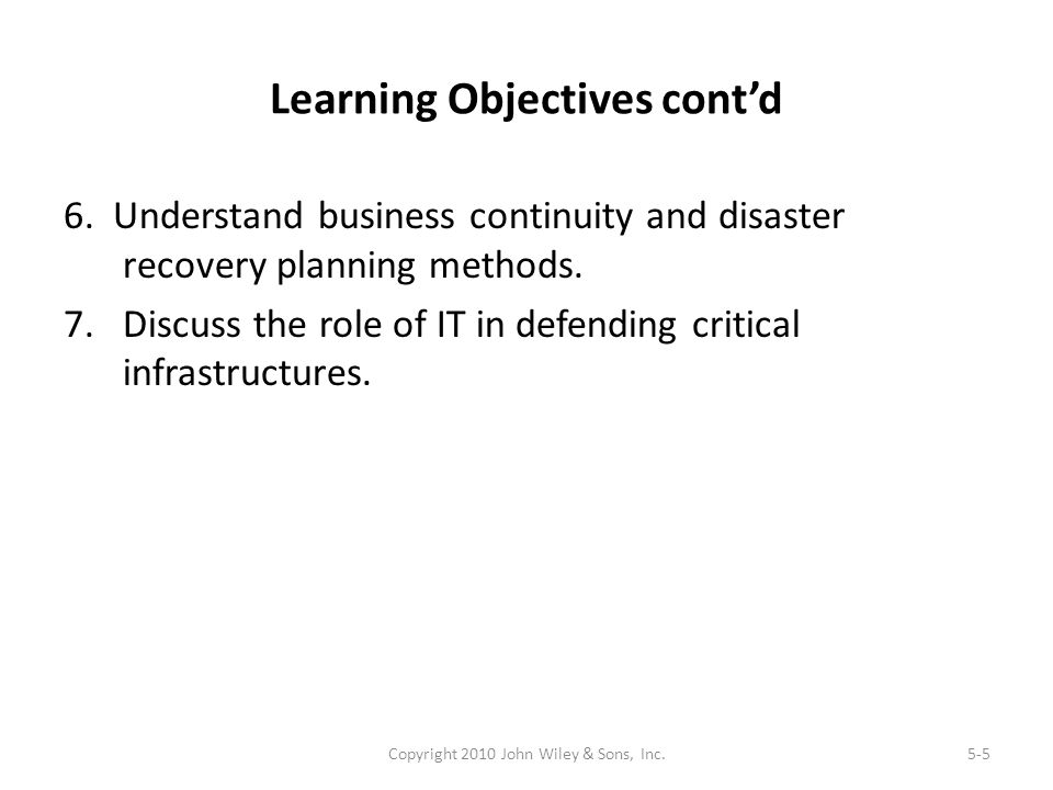 Learning Objectives cont'd