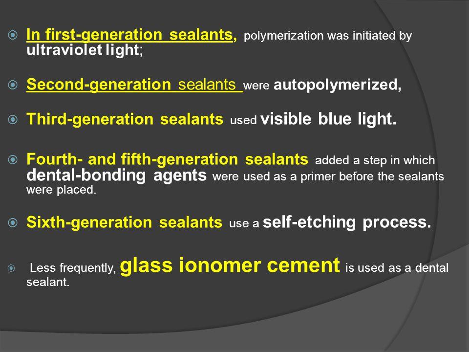 Second-generation sealants were autopolymerized,