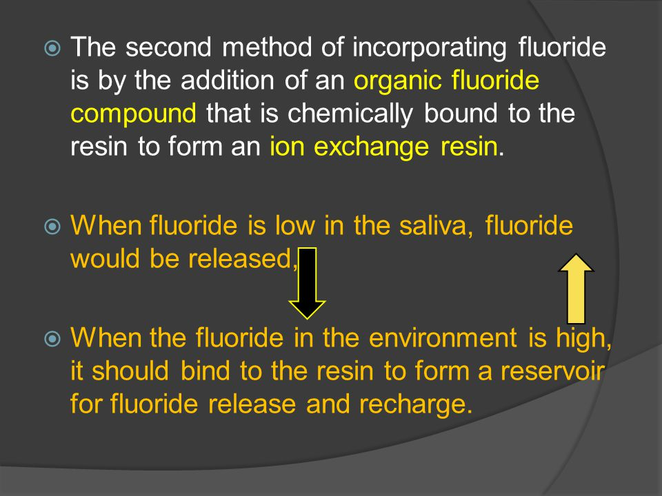 The second method of incorporating fluoride is by the addition of an organic fluoride compound that is chemically bound to the resin to form an ion exchange resin.