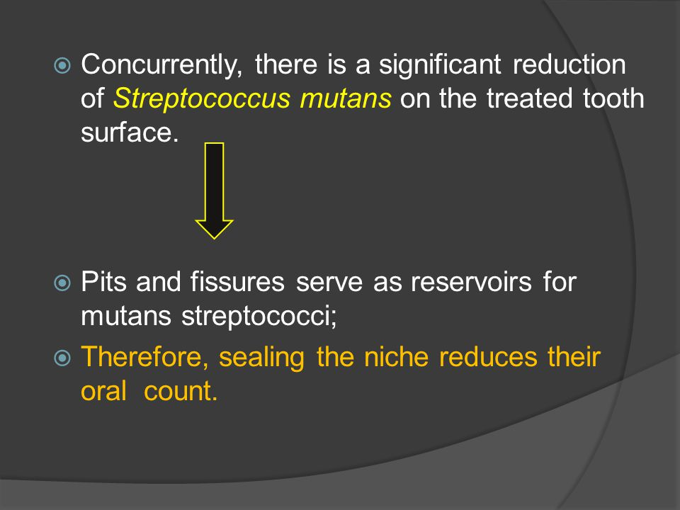 Concurrently, there is a significant reduction of Streptococcus mutans on the treated tooth surface.
