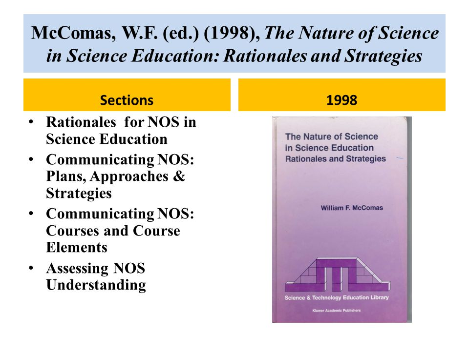McComas, W.F. (ed.) (1998), The Nature of Science in Science Education: Rationales and Strategies