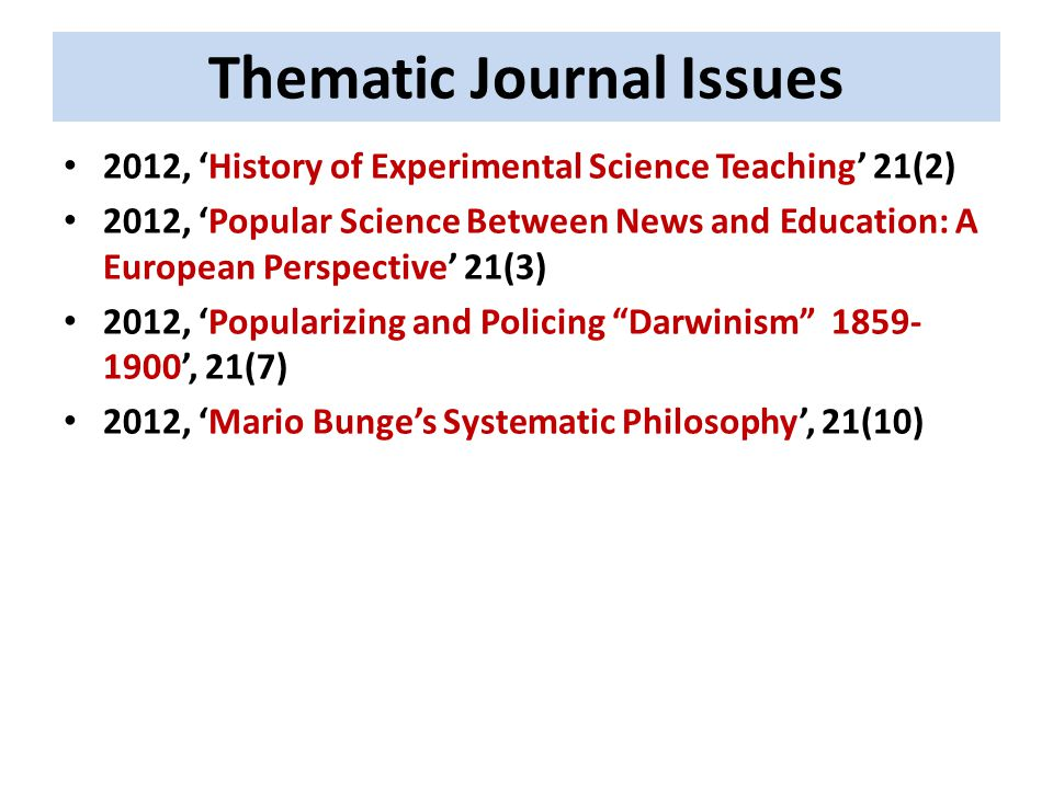 Thematic Journal Issues