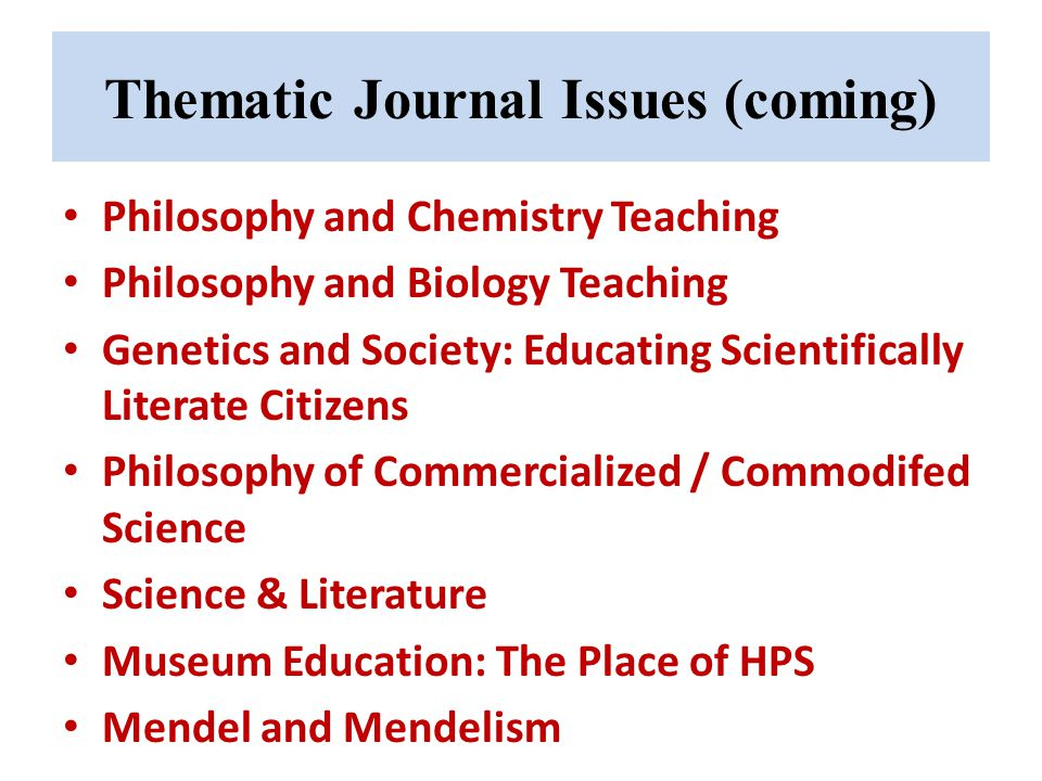 Thematic Journal Issues (coming)