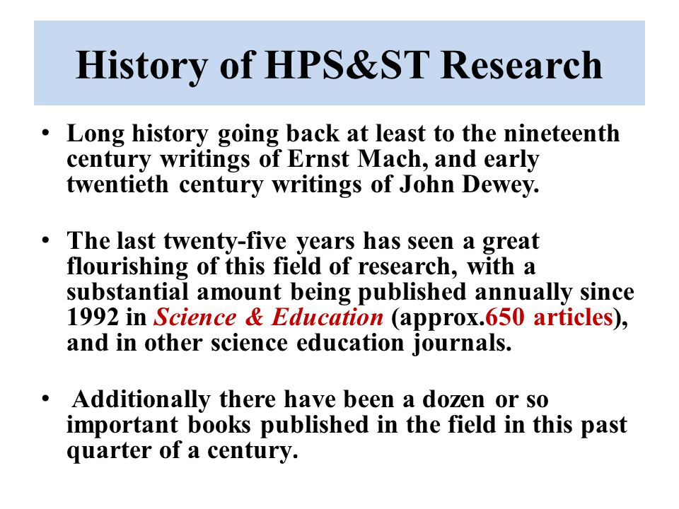 History of HPS&ST Research
