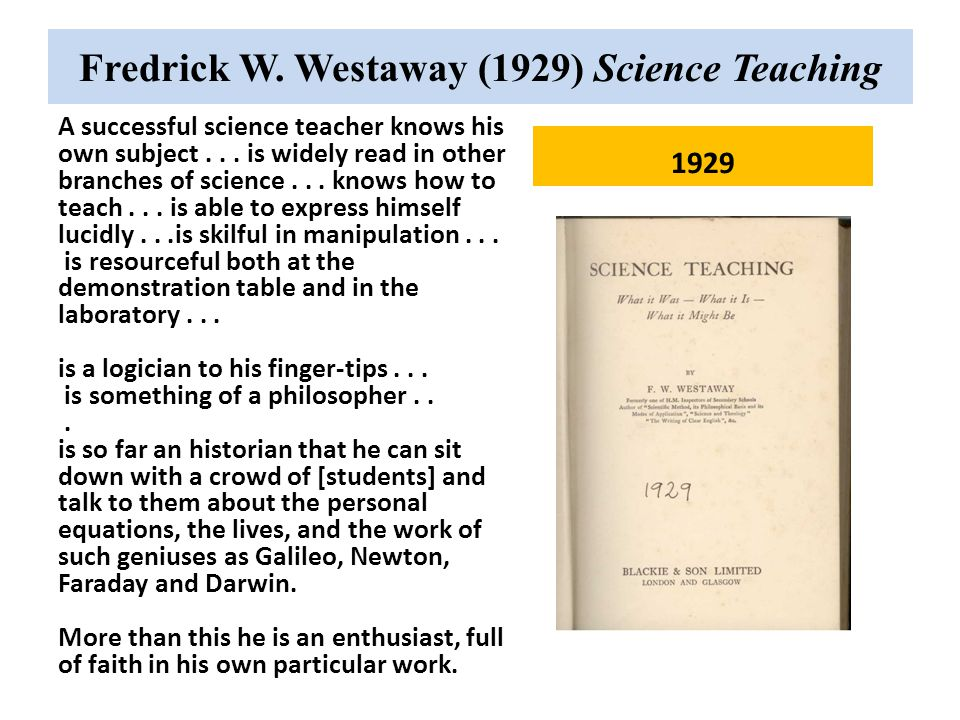 Fredrick W. Westaway (1929) Science Teaching