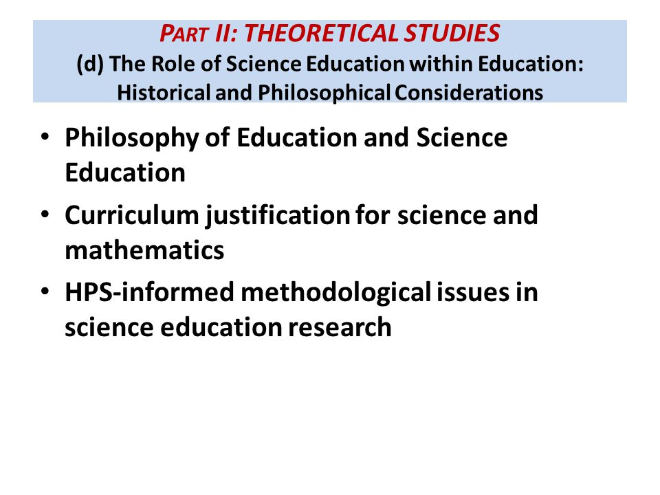 Philosophy of Education and Science Education