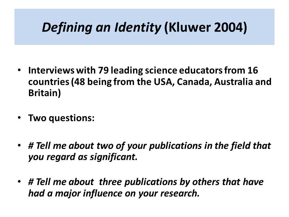 Defining an Identity (Kluwer 2004)
