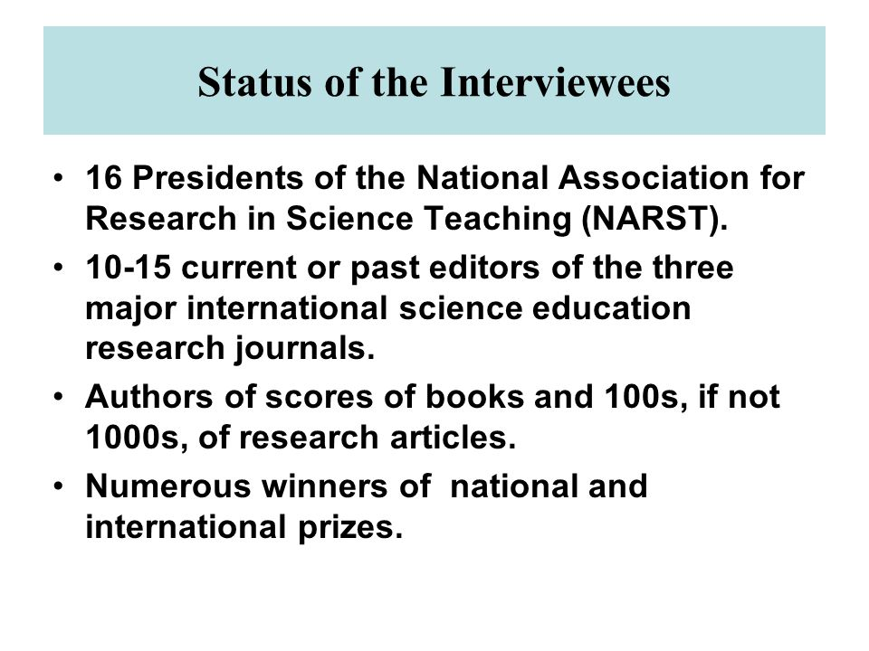 Status of the Interviewees